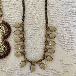 J Crew grey/tan necklace, art deco style